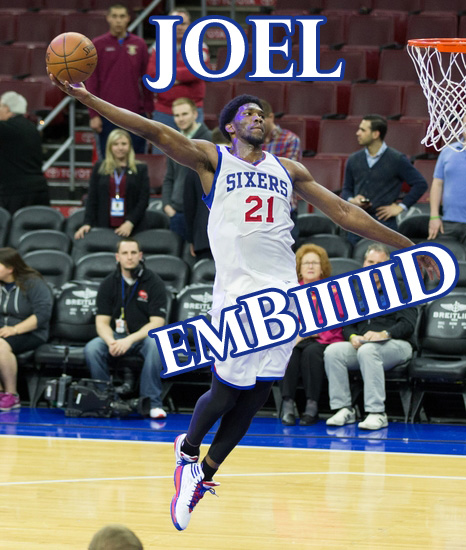 Apr 15, 2015; Philadelphia, PA, USA; Philadelphia 76ers center Joel Embiid (21) during warm ups before a game against the Miami Heat at Wells Fargo Center. Mandatory Credit: Bill Streicher-USA TODAY Sports