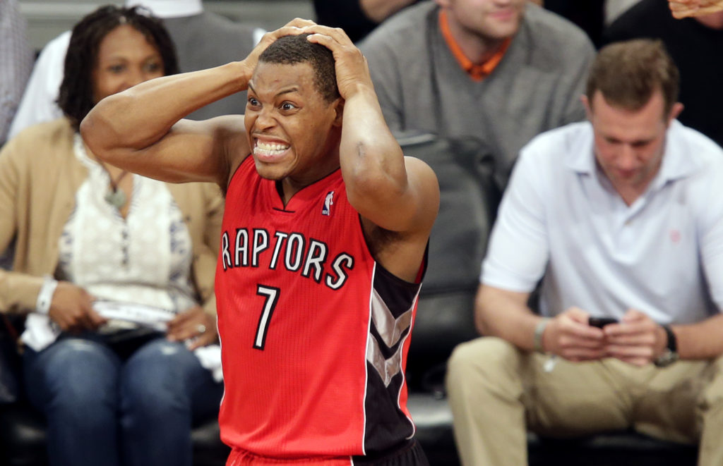 Toronto Raptors Kyle Lowry reacts after a turnover in the second half against the Brooklyn Nets in Game 4 of the Eastern Conference Quarterfinals at Barclays Center in New York City on April 27, 2014. The Raptors defeated the Nets 87-79 and tied the series at 2-2. UPI/John Angelillo